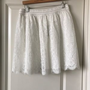 New BEBE high rise stretch waist lace skirt large